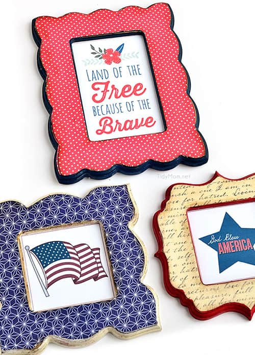 4th of July Patriotic Party Ideas with Printables. Frames by Tidymom. LivingLocurto.com