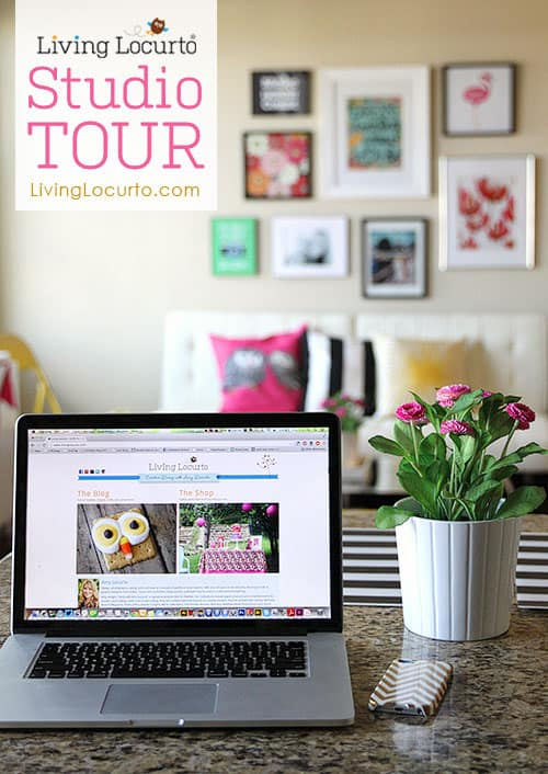 Living Locurto Studio Tour - Modern Office Space with black and white stripes, hot pink and bright yellow. Happy and bright room decorating ideas and inspiration! Printable wall decor. LivingLocurto.com