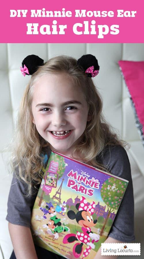 DIY Minnie Mouse Ear Hair Clips. Cute Disney Craft for Kids! LivingLocurto.com