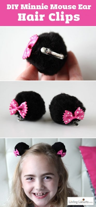 DIY Minnie Mouse Ear Hair Clips. Cute Disney Craft for Kids! LivingLocurto.com