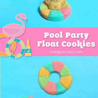 Rainbow Pool Float Cookies with Mini Teddy Grahams