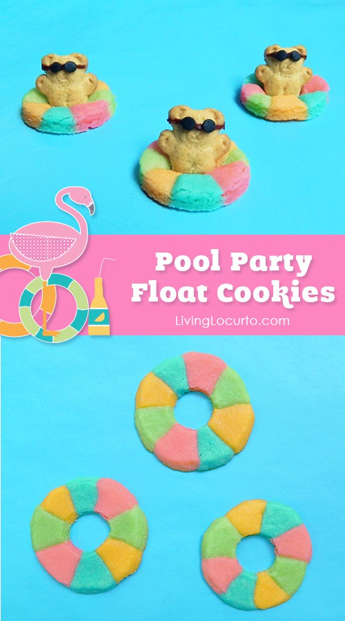 Easy Rainbow Life Preserver Cookies. Cute Mini Pool Floats with Teddy Grahams! Summer Pool Party Ideas. LivingLocurto.com