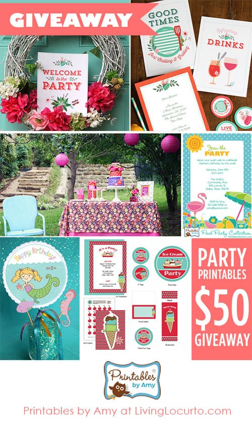 Summer Party Giveaway! Enter to win pretty party printables to make your celebrations unique. Shop.LivingLocurto.com