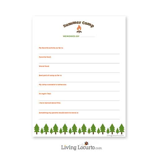 Summer Camp Care Package Ideas   Free Printable Questionnaire. Livinglocurto.com