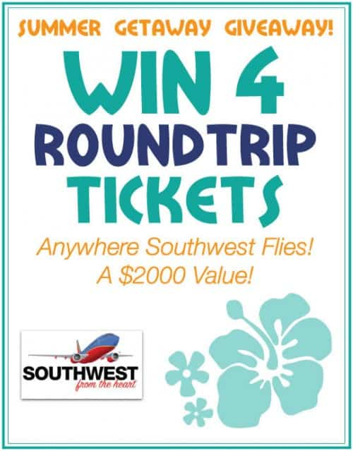 Summer Getaway Giveaway on Southwest. Win 4 Tickets Anywhere!! Ends June 10, 2014 LivingLocurto.com