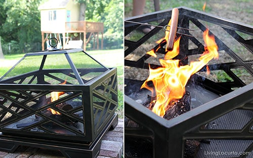 Great fire pit! Tree House Tour and Backyard Campout Ideas. LivingLocurto.com