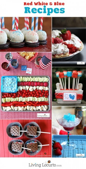 Red, White and Blue Recipes. Fun desserts, appetizers and party printables at LivingLocurto.com