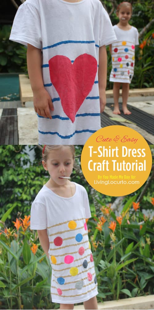 How to make a DIY t-shirt dress! Easy craft tutorial for kids. LivingLocurto.com