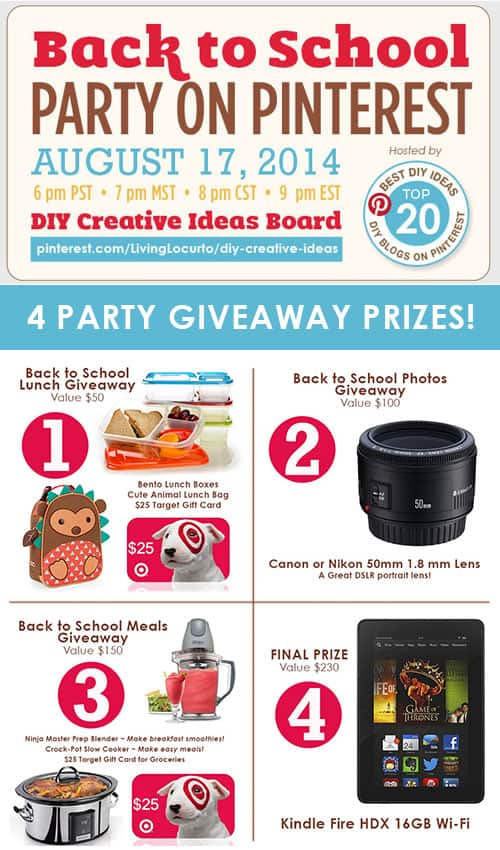 Back to School Party on Pinterest! Get great DIY ideas and a chance to win fun prizes.