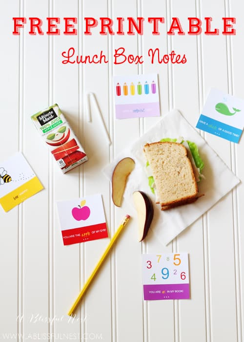 Free Printable Lunch Box Notes by A Blissful Nest.