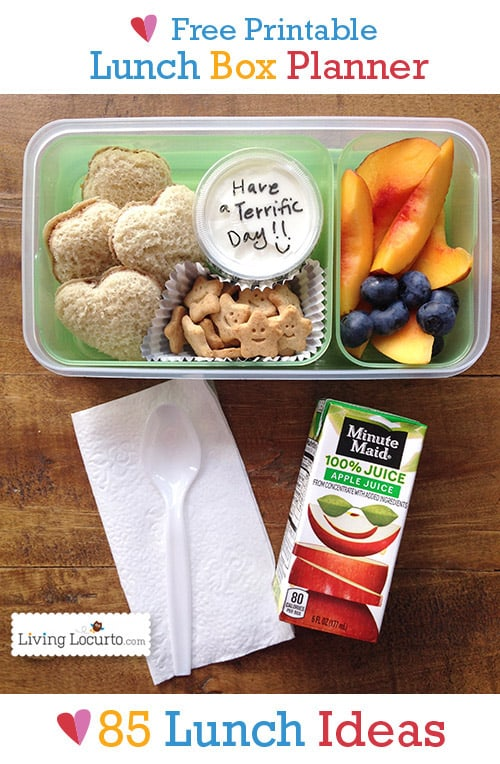 Free Printable School Lunch Box Meal Planner with 85 school lunch Ideas. New healthy ideas for school lunch ideas for kids. Back to school menu calendar.