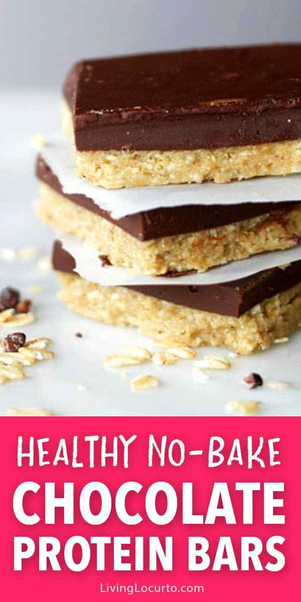 These no bake homemade chocolate protein bars are the perfect healthy snack. They're gluten free and packed with protein and calcium. All of the great taste you love without the guilt! Good recipe for school lunch or a quick on the go breakfast. #healthy #chocolate #recipe #easyrecipe #glutenfree #backtoschool #healthysnack #dessert #breakfast