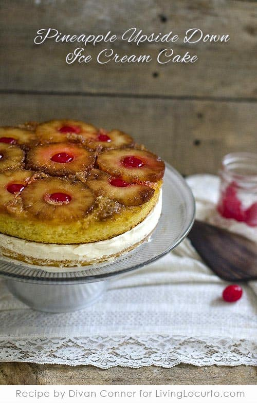 Pineapple Upside Down Ice Cream Cake is a classic homemade recipe with vanilla ice cream for the perfect summer treat.