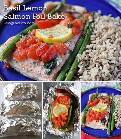 Basil Lemon Salmon Foil Bake - Fast and Easy Dinner Recipe! LivingLocurto.com