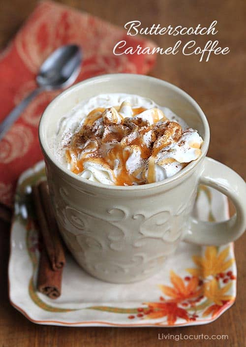 This simple Butterscotch Caramel Coffee Recipe makes the perfect drink for cold nights! Get the free printable recipe card for a party coffee bar.