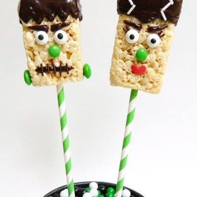 Frankenstein Halloween Rice Krispies Treat Pops