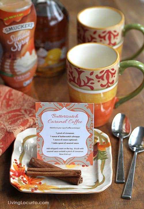 Butterscotch Caramel Coffee Recipe with a Coffee Bar Free Printable. LivingLocurto.com