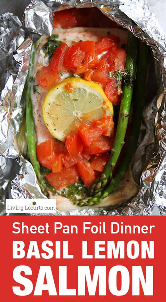 This sheet pan lemon basil salmon foil bakeis a quick and easy dinner recipe. With only 5-10 minutes of prep time, this healthy meal is sure to please any salmon lover. #salmon #dinner