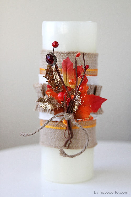 Making a Burlap Candle is such a fun and easy DIY craft! These would be gorgeous on a Fall Party Centerpiece. LivingLocurto.com