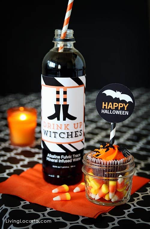 Simple Halloween Party Ideas with funny Free Printable Water Bottle Labels! Drink Up Witches. LivingLocurto.com