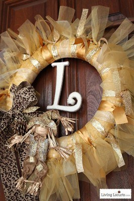 Gold DIY Holiday Fall Wreath - Easy Ribbon Wreath Craft Tutorial. LivingLocurto.com
