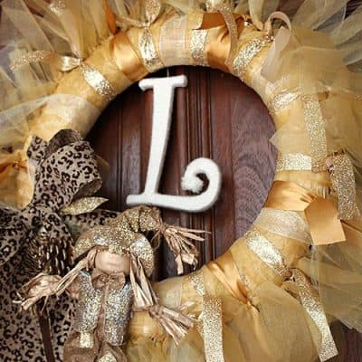 DIY Gold Fall Holiday Ribbon Wreath Craft
