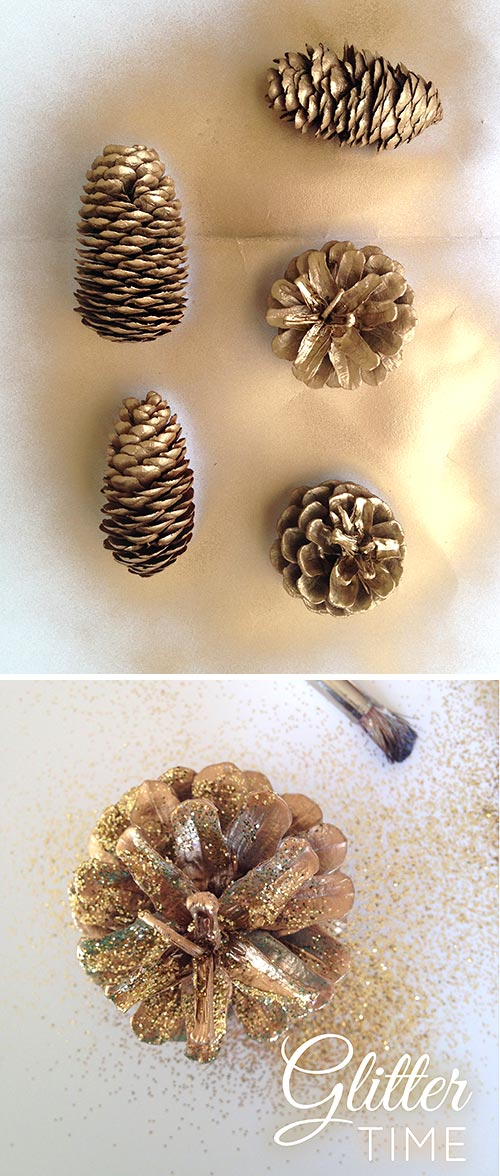 Repurpose Pine Cones with Glitter for a Gold DIY Holiday Fall Wreath Easy Craft Tutorial. LivingLocurto.com