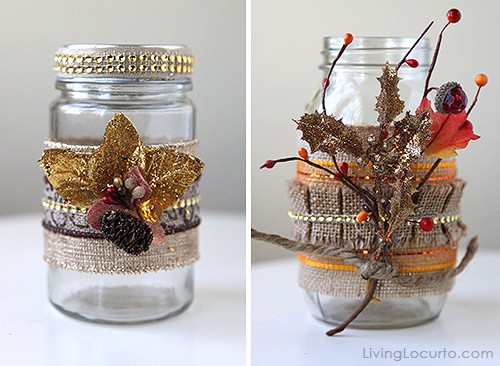 Burlap Mason Jars are an easy DIY craft! These would be gorgeous with candles for a Thanksgiving table centerpiece. LivingLocurto.com