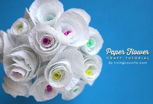 Paper Flower Craft Tutorial with Sparkle Paper Towels. LivingLocurto.com