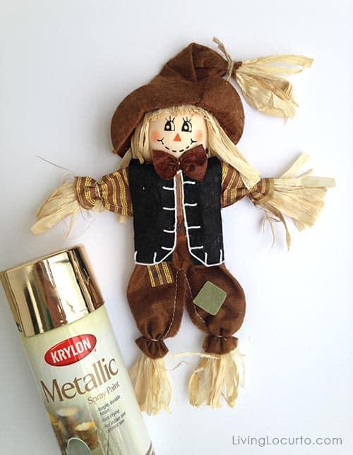 Repurpose a Scarecrow for a Gold DIY Holiday Fall Wreath Easy Craft Tutorial. LivingLocurto.com