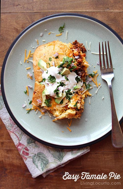 Easy Tamale Pie Mexican Casserole! A dinner recipe idea the whole family will love! LivingLocurto.com