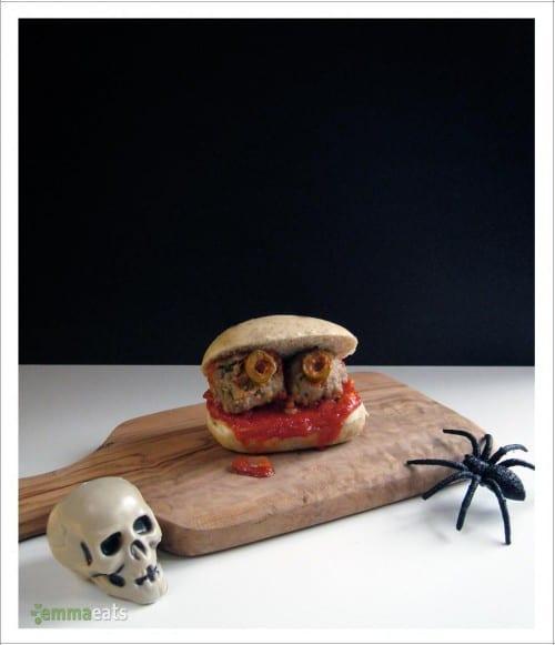 Spooky Halloween Mini Turkey Meatball Sliders
