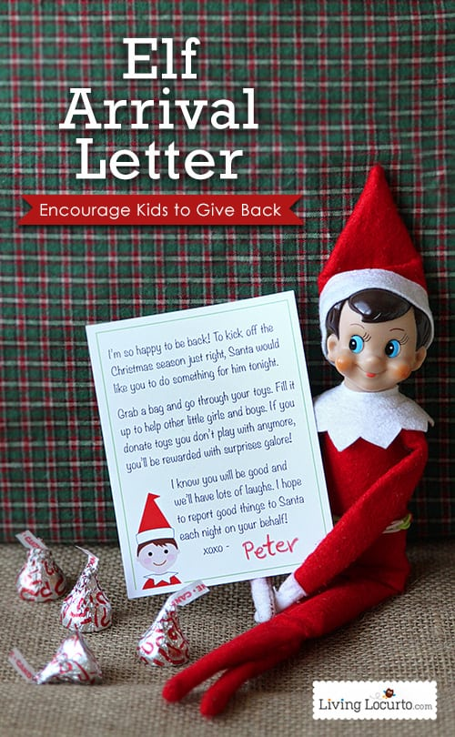 Elf on the Shelf Printable Arrival Letter. A special note from the North Pole that encourages kids to donate toys. Get at livinglocurto.com