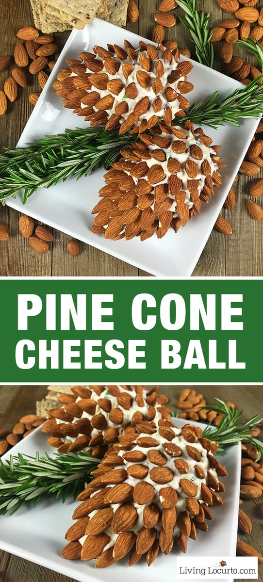 Pine Cone Cheese Ball Appetizer with Almonds. Fun and Easy Christmas Party Appetizer for the holiday season. Delicious fresh dill cheese ball recipe. #party #recipe #appetizer #easyrecipe #partyfood #pinecone #cheese #christmas #holiday #thanksgiving #fallrecipes #recipes