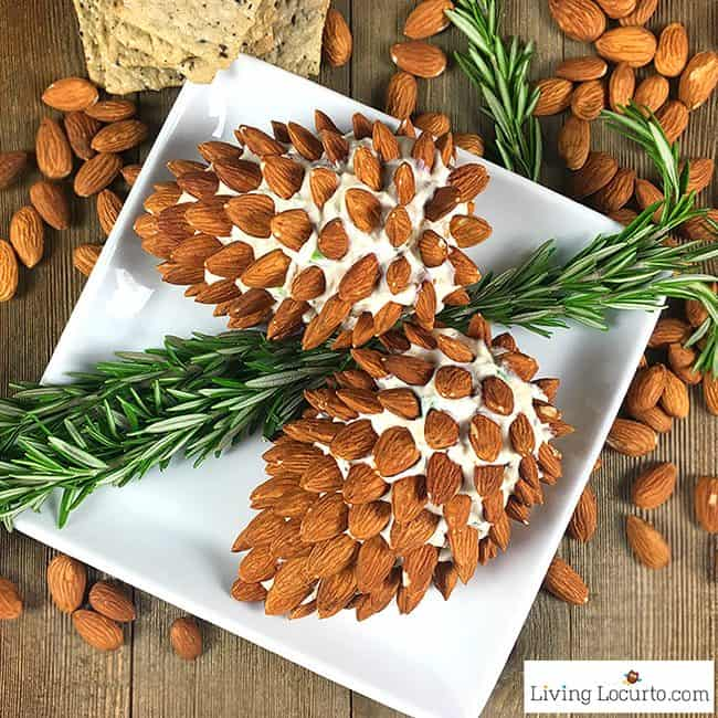Christmas Cheese Ball.Pine Cone Cheese Ball With Almonds
