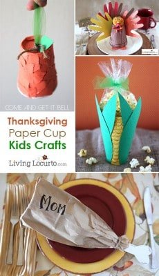 Thanksgiving Fall Kids Crafts made with Paper Cups. LivingLocurto.com