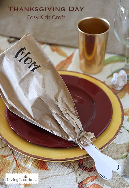 Easy Thanksgiving Kids Crafts with Paper Cups. Cute paper bag Turkey leg! LivingLocurto.com