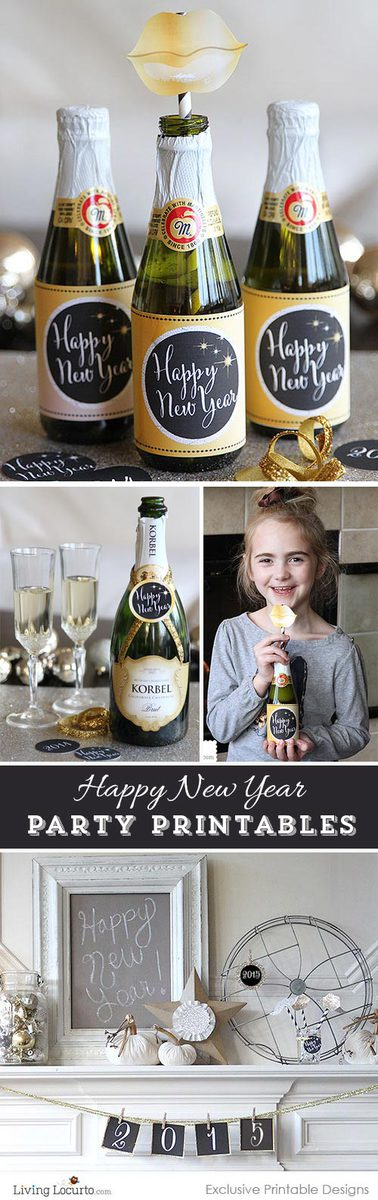 2015 New Years Eve Printable Party Collection. Fun Gold and Black designs! LivingLocurto.com