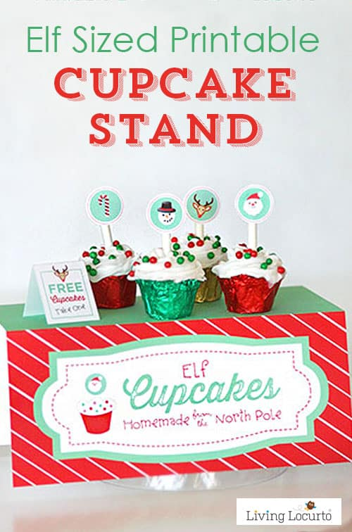 graphic about Free Elf Printable named Elf Cupcake Stand Printables
