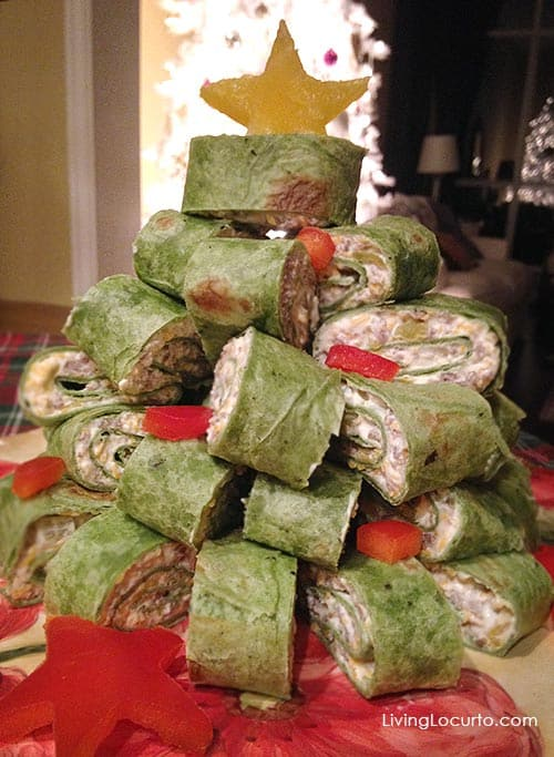 Christmas Tree Appetizer Wraps Recipe. - 25 Amazing Christmas Party Appetizer Recipes! Fun Food Ideas and more for a Holiday Party. LivingLocurto.com