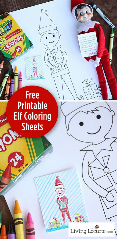Free Printable Coloring Sheets for an Elf on the Shelf. Surprise kids this Christmas with a free elf coloring page and elf sized coloring sheet gift. #elf #christmas