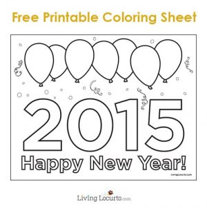 Free Printable 2015 Happy New Year Coloring Sheet