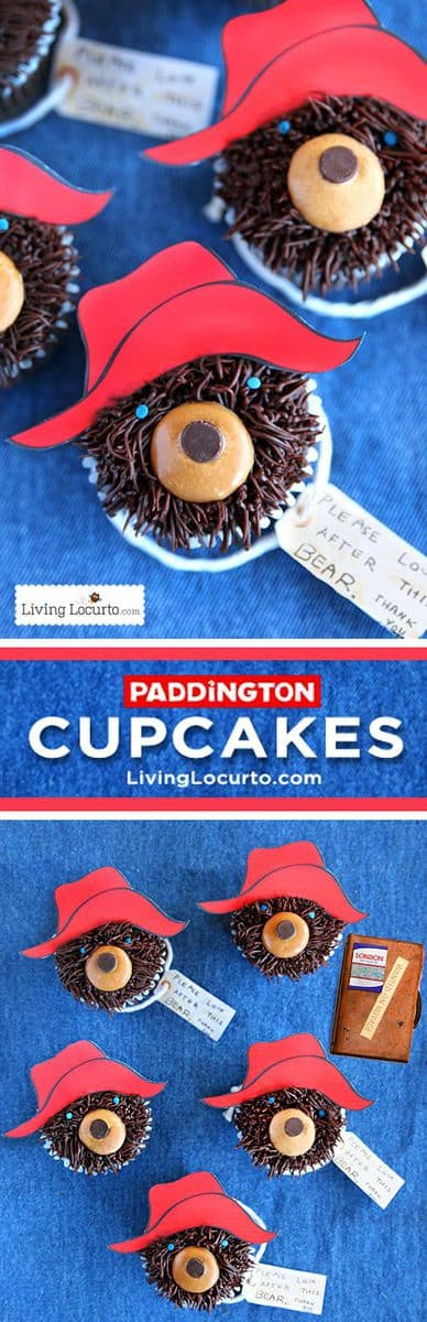 Cute and Easy Chocolate Paddington Bear Cupcakes perfect for a kid's birthday party!