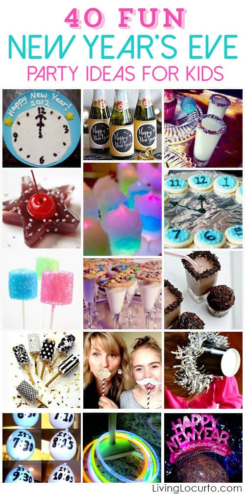 Fun New Years Eve Party Ideas for Kids. Family friendly party ideas, games and fun food recipe ideas for kids on New Year's Eve!