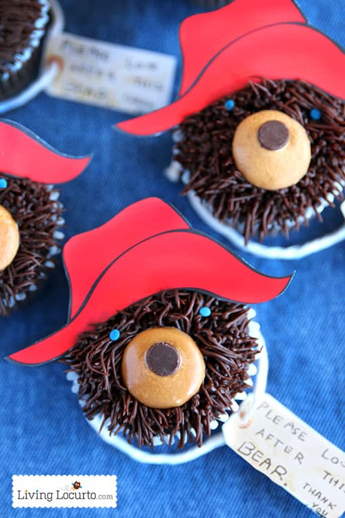 How to make the cutest Paddington Bear Cupcakes! Free Printable tags to go along with the beloved children book character. LivingLocurto.com