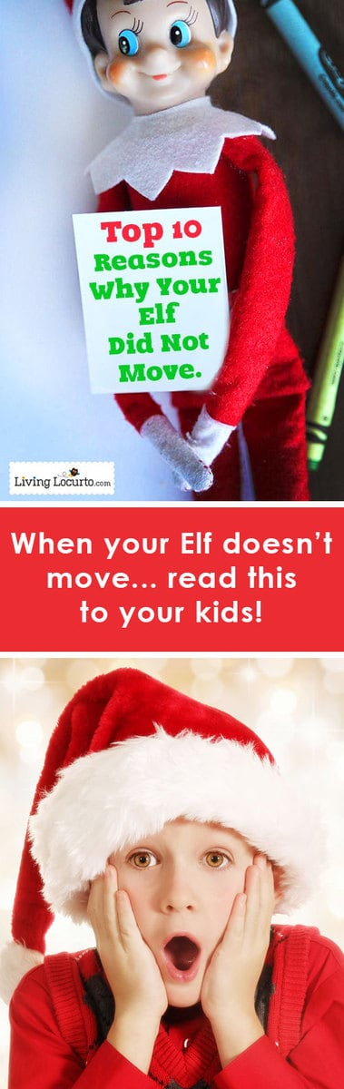 Top 10 Reasons Why Your Elf on the Shelf Did Not Move. LOVE THIS! Ever wondered why your Elf on the Shelf did not move? Here are 10 facts for parents to read to kids to explain why the elf didn't move.