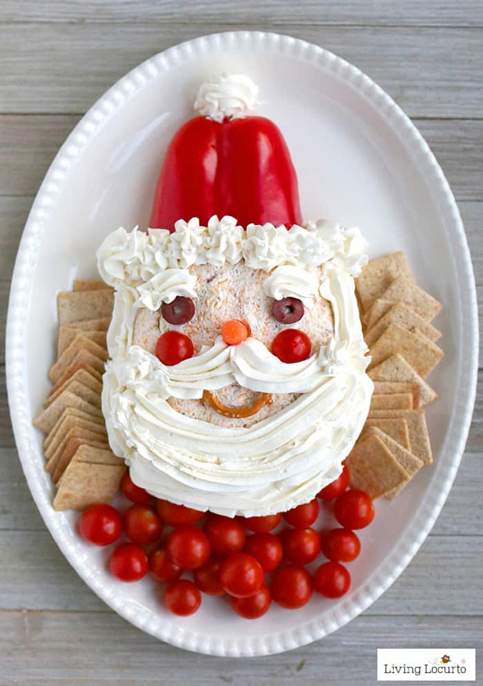 This fun Santa Cheese Ball is an adorable no bake fun food Christmas Party appetizer idea! Ranch and cheddar cheese ball recipe.