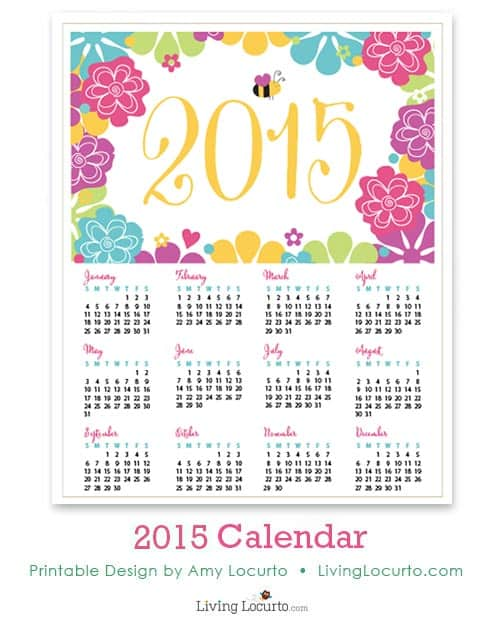 2015 Printable Calendars - Pretty desktop calendar from LivingLocurto.com