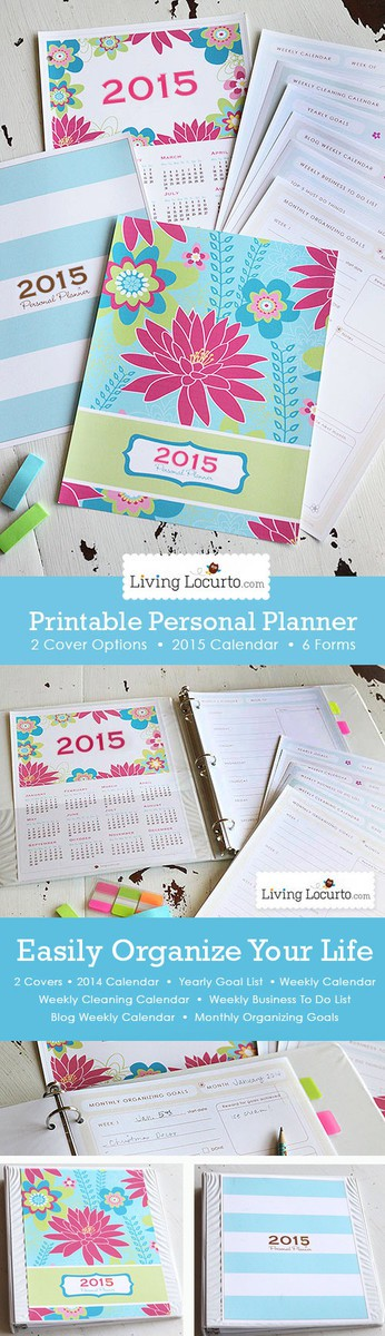 Get your life organized! A Printable Daily Planner with 2015 Calendar and 6 life organizational sheets. Cleaning calendar, blog calendar, To-do lists and more! LivingLocurto.com