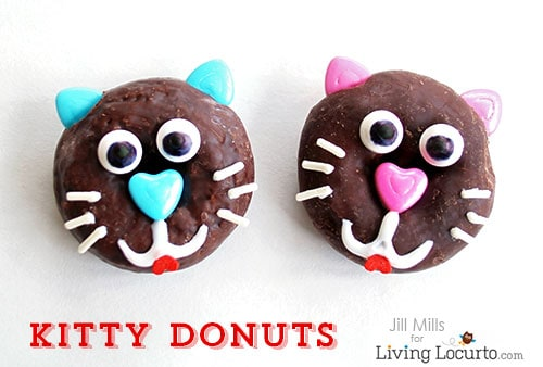 How to make cute kitty cat donuts. Fun food recipe idea purr-fect for a pet themed birthday party or Valentine's Day.